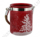 Frosted Glass Lantern with Christmas Tree Design Available in Red or White
